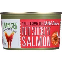 Natural Sea Salmon Red Sockeye Wild Alaska No Salt Added 7.5 oz case of 24