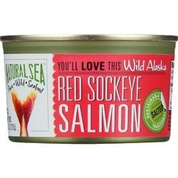 Natural Sea Salmon Red Sockeye Wild Alaska Salted 7.5 oz case of 24