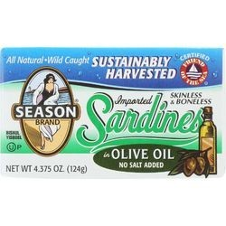 Season Brand Sardines Skinless and Boneless in Olive Oil No Salt Added 4.375 oz case of 12
