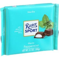 Ritter Sport Chocolate Bar Dark Chocolate Peppermint 3.5 oz Bars Case of 12