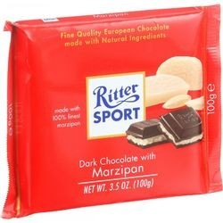 Ritter Sport Chocolate Bar Dark Chocolate Marzipan 3.5 oz Bars Case of 12
