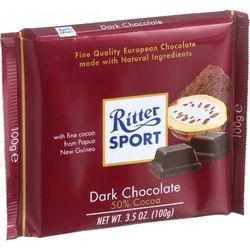 Ritter Sport Chocolate Bar Bittersweet Chocolate 50 Percent Cocoa 3.5 oz Bars Case of 12