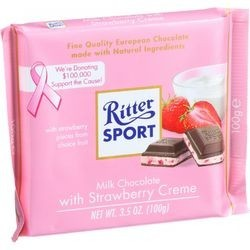 Ritter Sport Chocolate Bar Milk Chocolate Strawberry Creme 3.5 oz Bars Case of 12