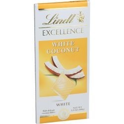 Lindt Chocolate Bar White Chocolate Coconut 3.5 oz Bars Case of 12